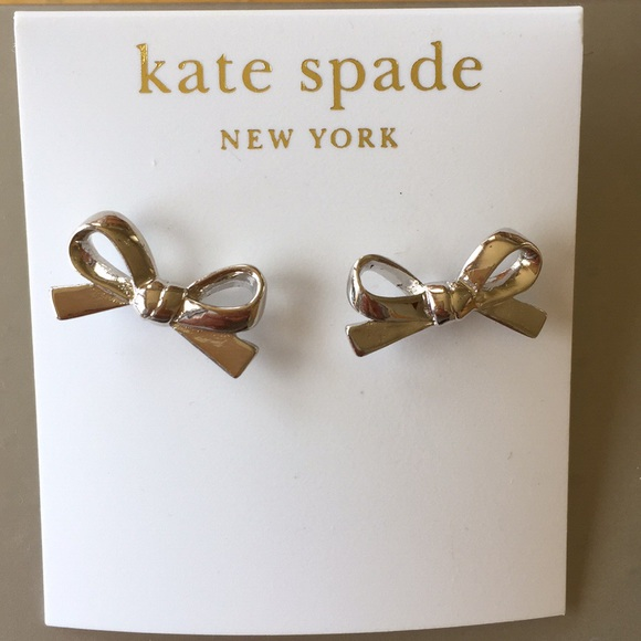 kate spade Jewelry - NWT Silver Kate Spade bow earrings